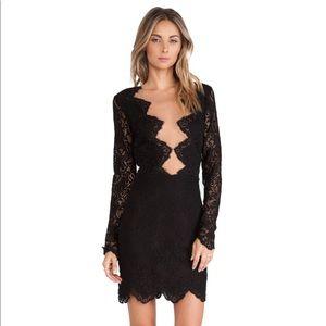 For Love and Lemons Noir Lace Mini Dress - Size S